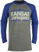 adidas Boys' Kansas Jayhawks Dassler Tri-Blend Raglan T-Shirt