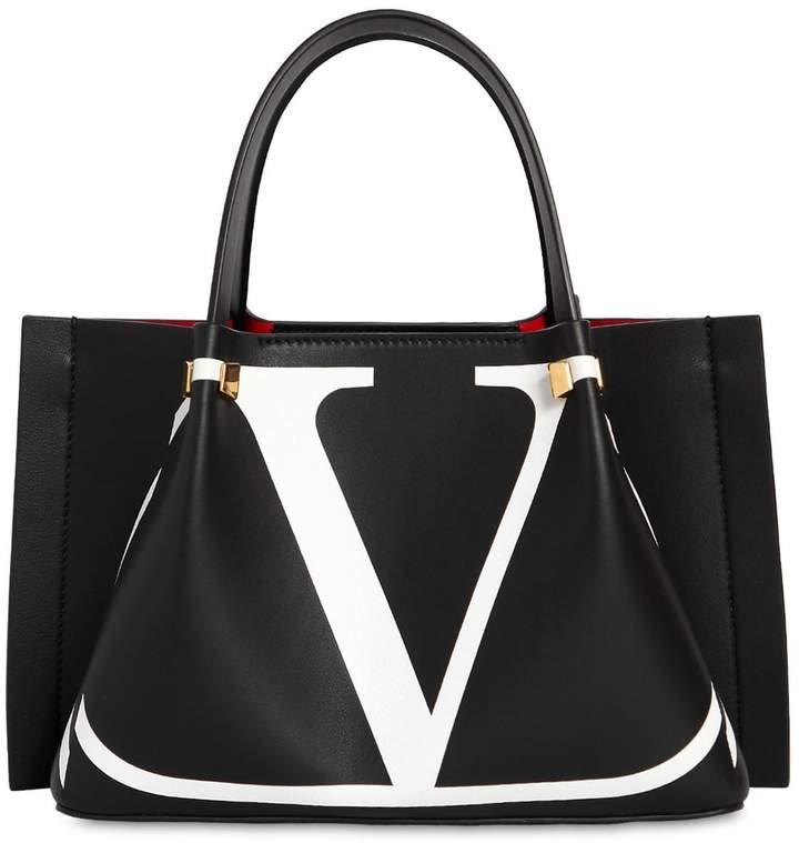 Valentino Small Logo Escape Leather Tote Bag