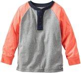 Osh Kosh Raglan Henley (Toddler) - Gray/Coral-3T