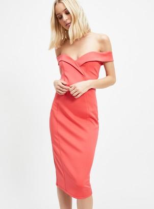 Miss Selfridge Coral Sweetheart Bardot Midi Dress