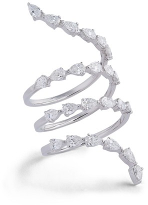 Djula White Gold and Diamond Marquise Spiral Ring