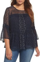 Lucky Brand Plus Size Women's Shirred Peasant Top