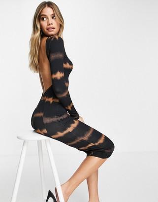 ASOS DESIGN long sleeve sexy back midi dress in tie dye print
