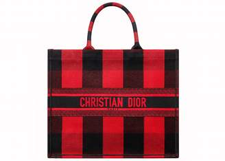Christian Dior Book Tote Check Red/Black