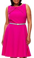 JCPenney Alyx® Belted Pleat-Neck Dress - Plus