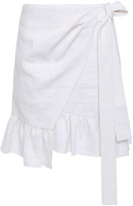 GOEN.J Asymmetric Ruffle-trimmed Linen Wrap Skirt