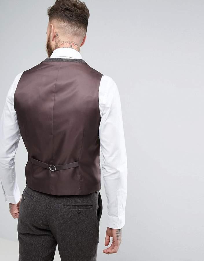 Moss Bros Skinny Suit Waistcoat In Brown Tweed