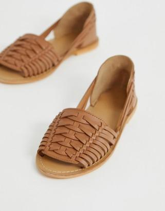 Asos Design DESIGN Fran leather woven flat sandals-Tan