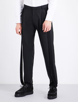 Chalayan Strip-embroidered regular-fit tapered mid-rise wool trousers