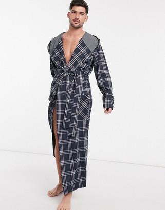 ASOS DESIGN robe in navy check
