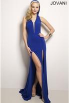 Jovani Embellished V-neck with Hood Evening Dress 24995