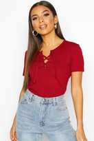 boohoo Lace Up Detail T-Shirt