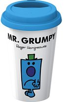 Mr Men Creative Tops Double Walled Porcelain Mr. Grumpy Take Away Travel Mug Plus Silicone Lid, Multi-Colour