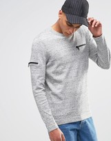 Asos Cotton Jumper With Chest And Arm Zip Pocket