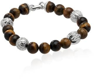 Tane Silver Spheres & Tiger Eye Beads In Cactus Motif Bracelet