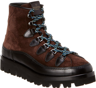Valentino Leather & Suede Combat Boot