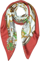 Moschino Boutique Geese & Horse Saddles Printed Twill Silk Square Scarf