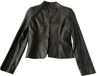 CNC Costume National Black Leather Jacket for Women