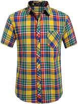 SSLR Men's Straight Fit Short Sleeve Gingham Shirt