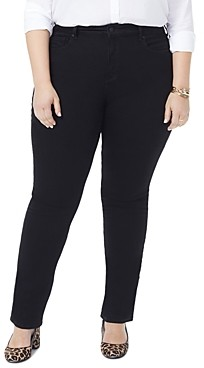 Nydj Plus Marilyn Straight-Leg Jeans in Black