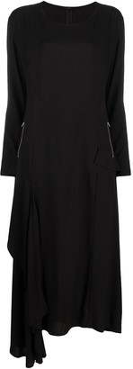 Yohji Yamamoto Asymmetric Hem Dress With Zipped Pockets