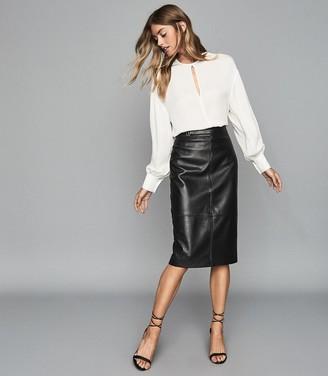 Reiss Kai - Leather Pencil Skirt in Black