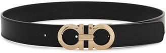 Salvatore Ferragamo Double Gancini black leather belt