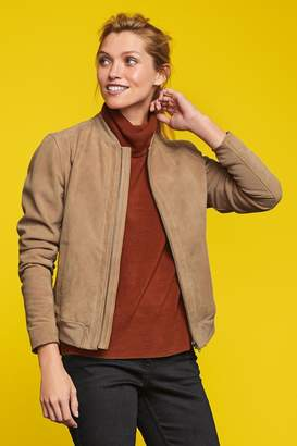 Next Womens Neutral Suede Bomber Jacket - Natural