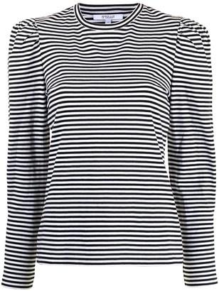 Derek Lam 10 Crosby puff-sleeve striped T-shirt