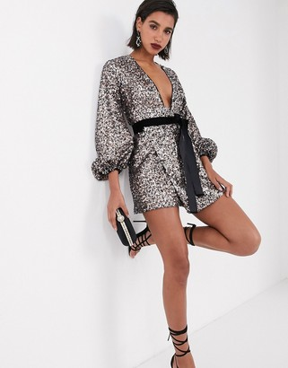 Asos DESIGN mini dress with blouson sleeve and tie waist in multi color sequin