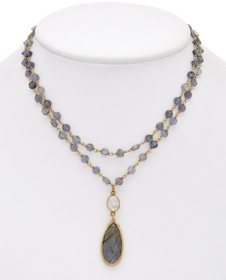 Rachel Reinhardt 14K Plated Over Silver Gemstone Wrap Necklace