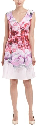 Adrianna Papell Women's Peony Cloud Printed Scuba Surplus Fit and Flare