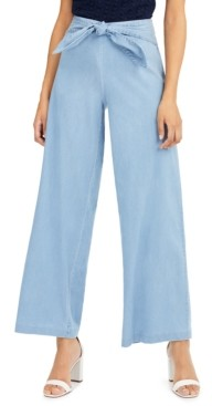 INC International Concepts Inc Tie-Waist Wide-Leg Pants, Created for Macy's