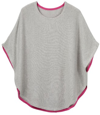 Cove Fliss Cotton Cashmere Reversible Poncho Grey & Pink