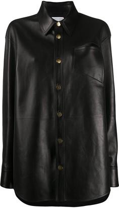 Bottega Veneta Oversized Leather Buttoned Shirt
