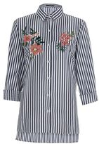 Quiz Navy and White Stripe Flower Embroidered Shirt