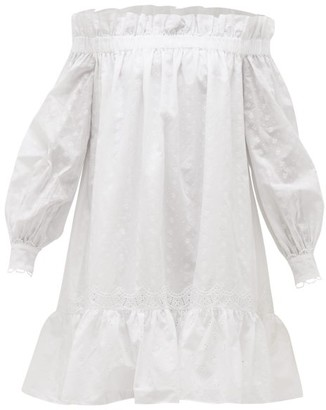 Erdem Blanca Off-the-shoulder Embroidered Cotton Dress - Womens - White