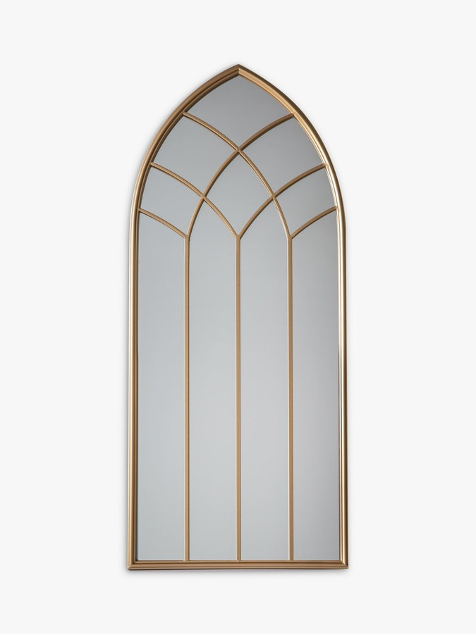 John Lewis & Partners Arch Window Metal Frame Outdoor Wall Mirror, 115 x 50cm, Gold