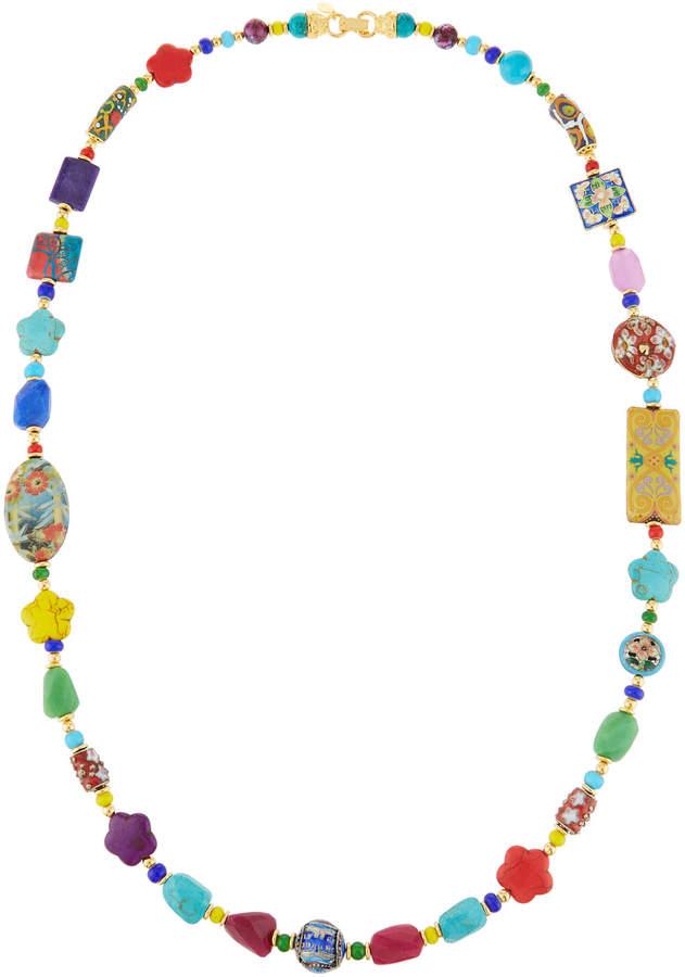 Jose & Maria Barrera Long Bright Decoupage Cloisonne Necklace