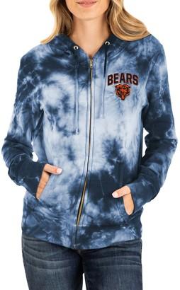 New Era Women's Navy Chicago Bears Tie Dye Fleece Full-Zip Hoodie