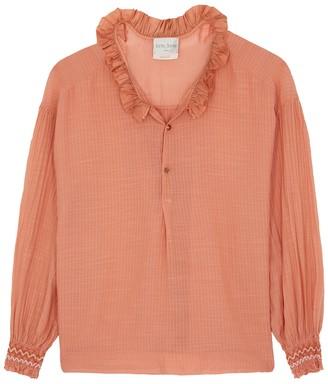 Forte Forte Orange ruffle-trimmed cotton blouse
