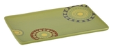 Rachael Ray Stoneware 12-3/4-Inch x 8-1/4-Inch Circles and Dots Rectangular Serving Platter, Green