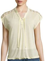 Almost Famous Short-Sleeve Lace-Up Knit Blouse - Juniors