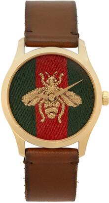 Gucci Gold & Brown Medium G-Timeless Bee Watch