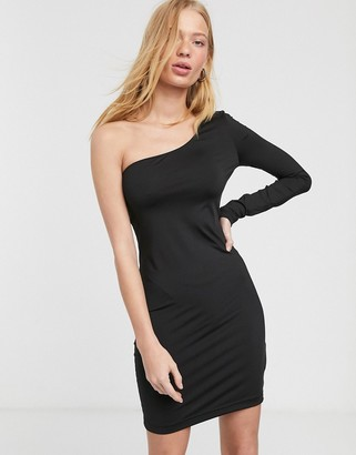 Weekday Bella one shoulder jersey bodycon mini dress in black