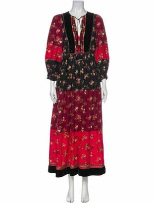Ulla Johnson Floral Print Long Dress Red