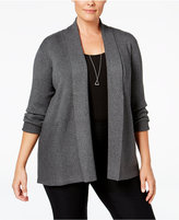 JM Collection Plus Size Ribbed Open-Front Cardigan, Created for Macy's