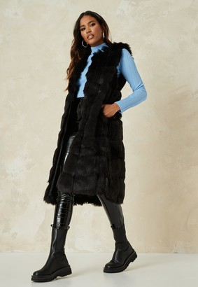Missguided Black Faux Fur Maxi Gilet