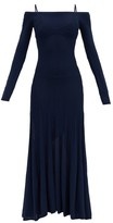 Jacquemus Valensole Cold-shoulder Knitted Maxi Dress - Womens - Navy