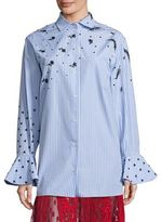 Valentino Embroidered Button Front Bell Sleeves Top